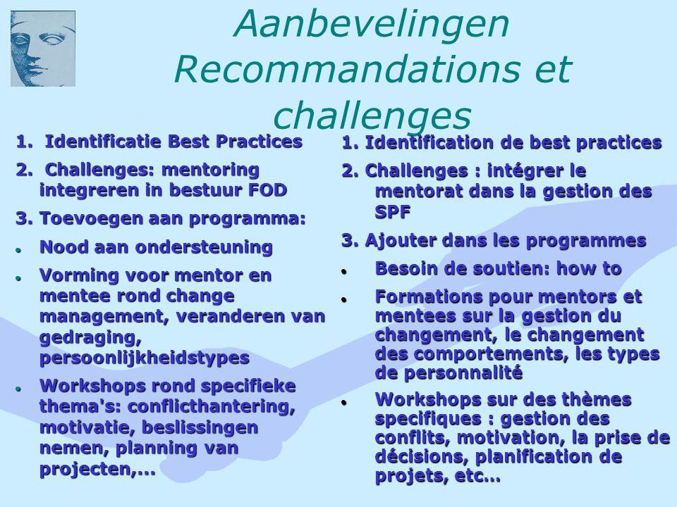 Aanbevelingen Recommandations et challenges 1. Identificatie Best Practices 2.