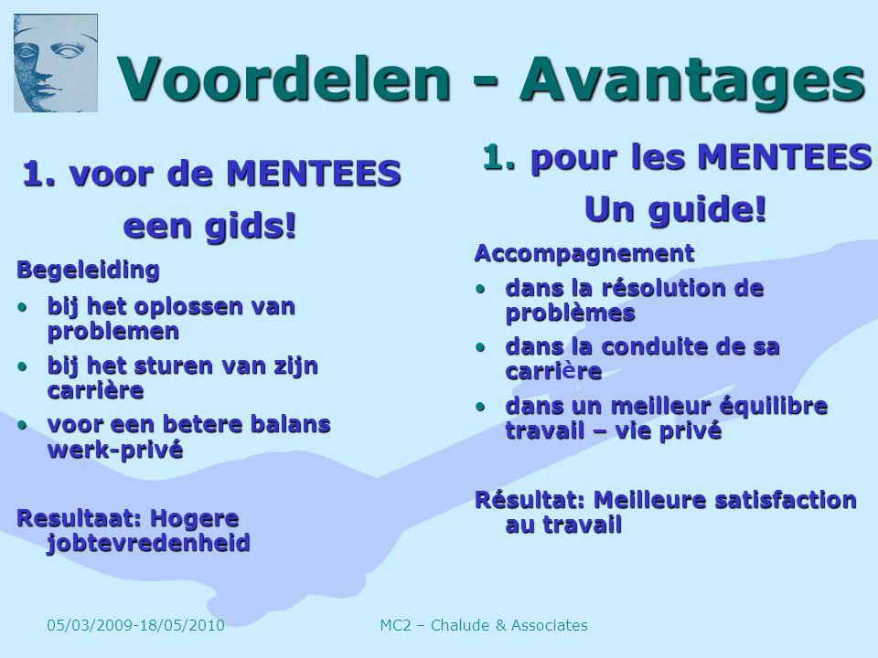Voordelen - Avantages 1. voor de MENTEES een gids.