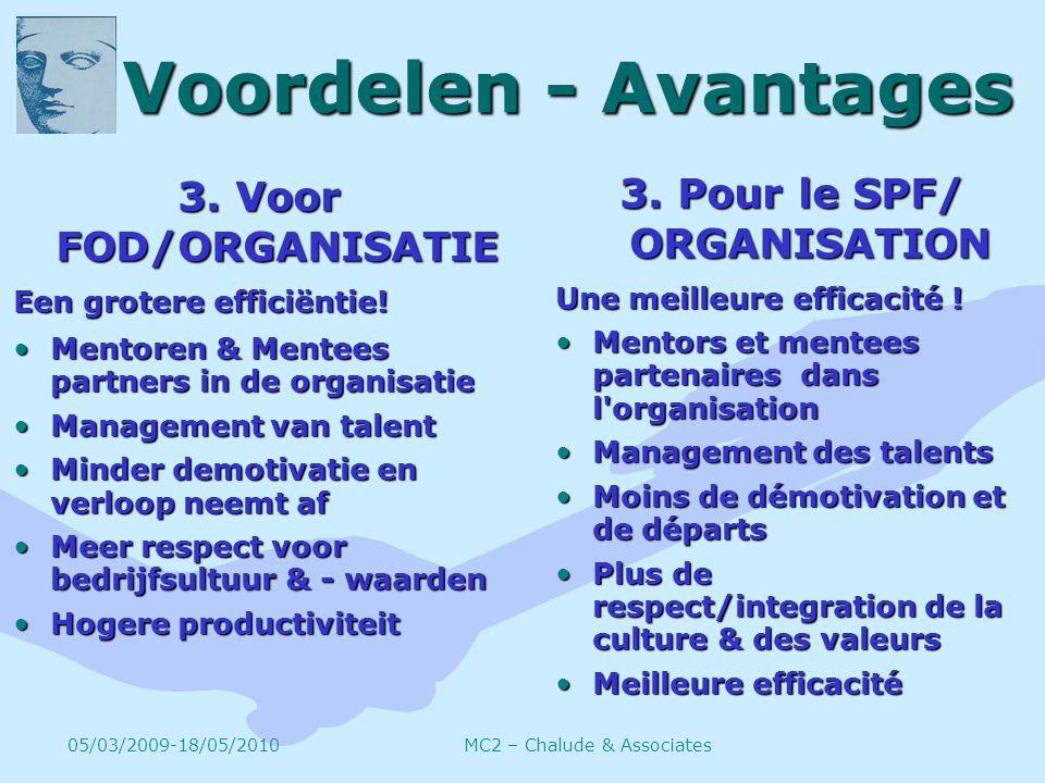 Voordelen - Avantages 3. Voor FOD/ORGANISATIE Een grotere efficiëntie.