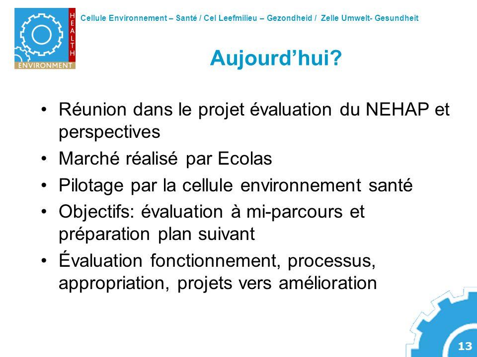 Cellule Environnement – Santé / Cel Leefmilieu – Gezondheid / Zelle Umwelt- Gesundheit 13 Aujourdhui? Réunion dans le projet évaluation du NEHAP et pe