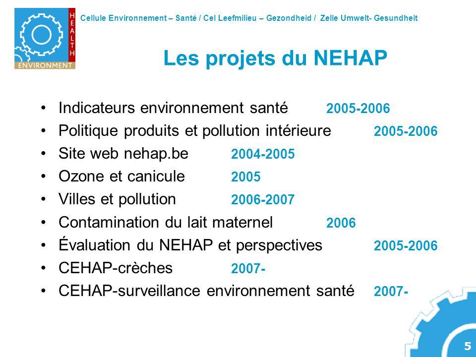 Cellule Environnement – Santé / Cel Leefmilieu – Gezondheid / Zelle Umwelt- Gesundheit 5 Les projets du NEHAP Indicateurs environnement santé 2005-200