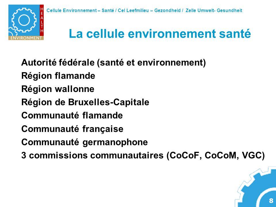 Cellule Environnement – Santé / Cel Leefmilieu – Gezondheid / Zelle Umwelt- Gesundheit 8 La cellule environnement santé Autorité fédérale (santé et en