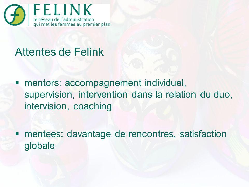 Attentes de Felink mentors: accompagnement individuel, supervision, intervention dans la relation du duo, intervision, coaching mentees: davantage de rencontres, satisfaction globale