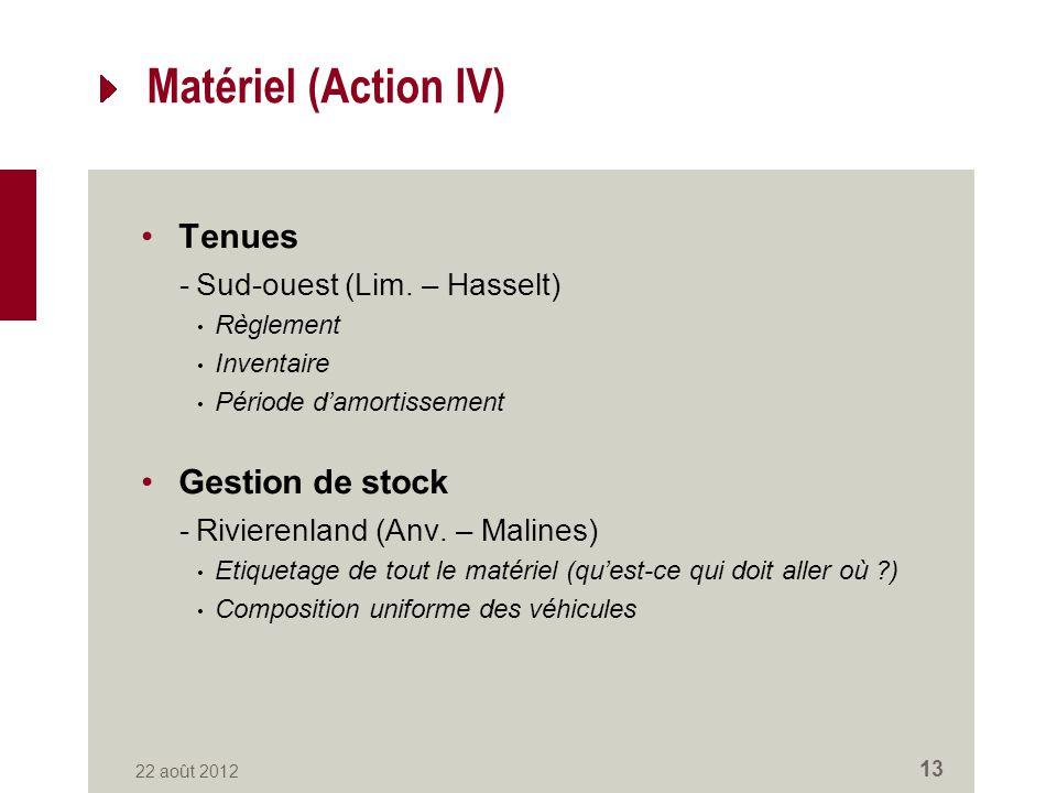 Matériel (Action IV) Tenues -Sud-ouest (Lim.