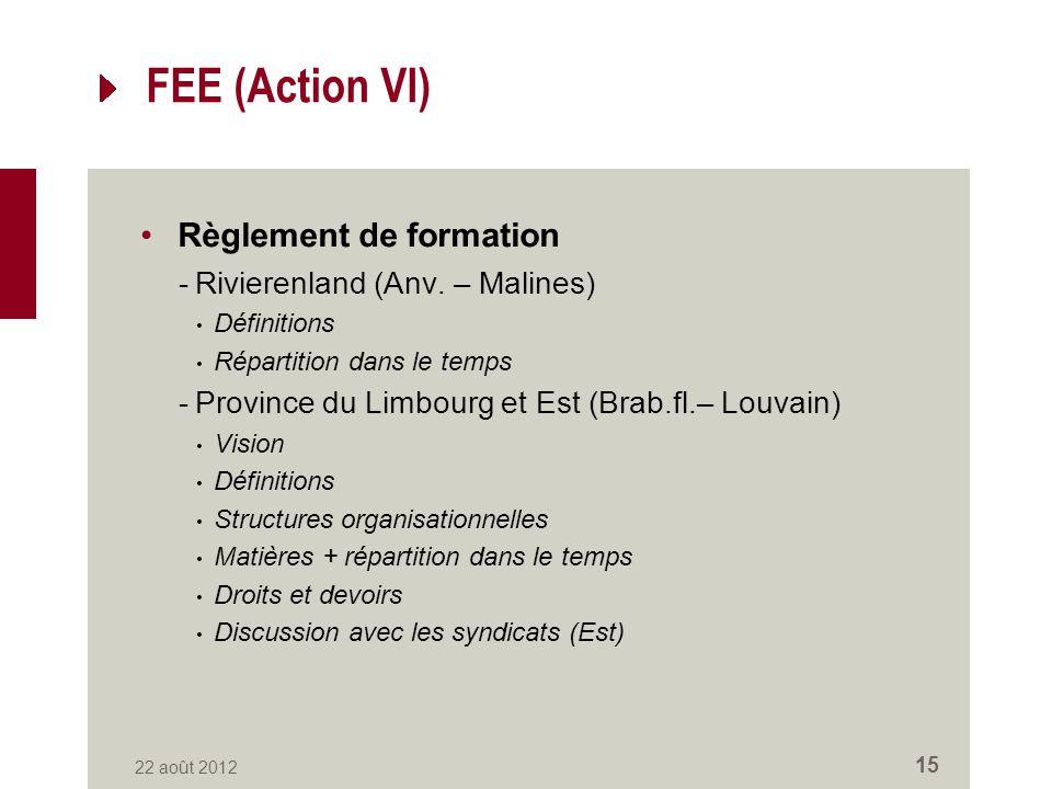 FEE (Action VI) Règlement de formation -Rivierenland (Anv.