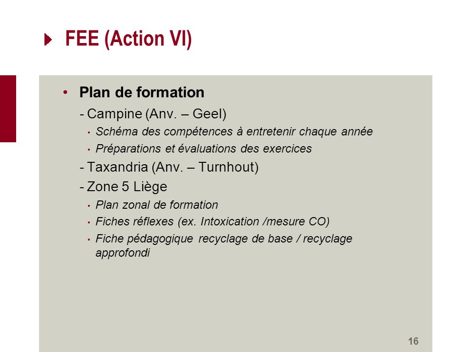 FEE (Action VI) Plan de formation -Campine (Anv.