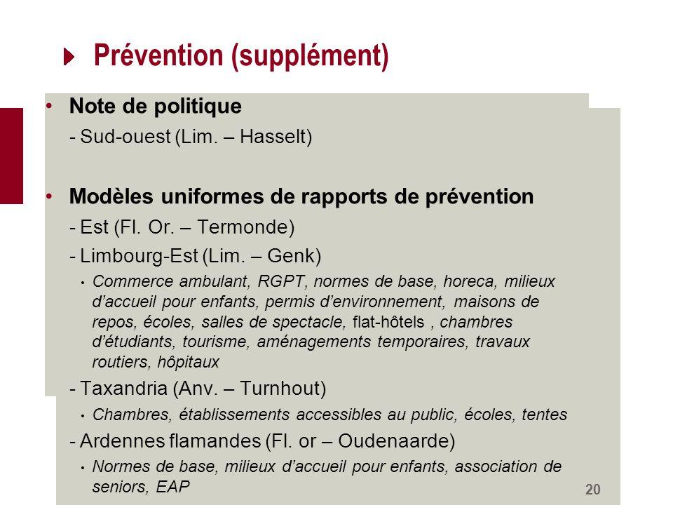 Prévention (supplément) Note de politique -Sud-ouest (Lim.