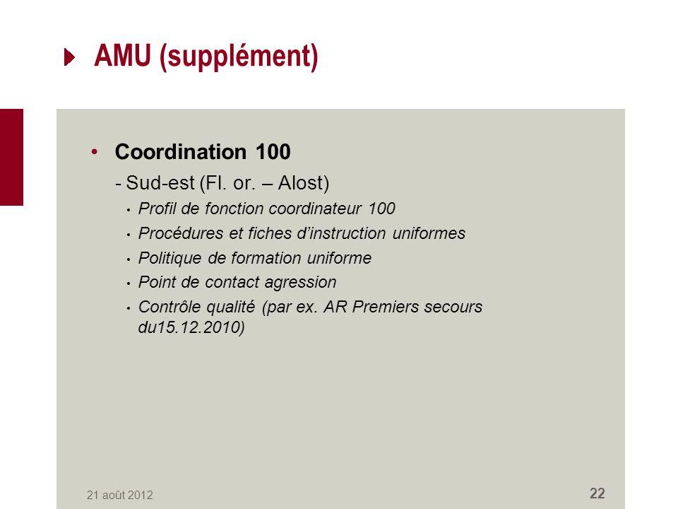 AMU (supplément) Coordination 100 -Sud-est (Fl. or.