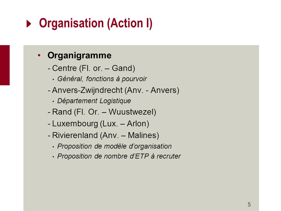 Organisation (Action I) Organigramme -Centre (Fl. or.