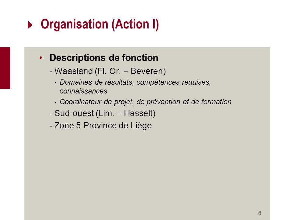 Organisation (Action I) Descriptions de fonction -Waasland (Fl.