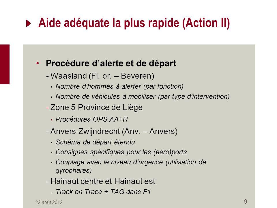 Aide adéquate la plus rapide (Action II) Procédure dalerte et de départ -Waasland (Fl.