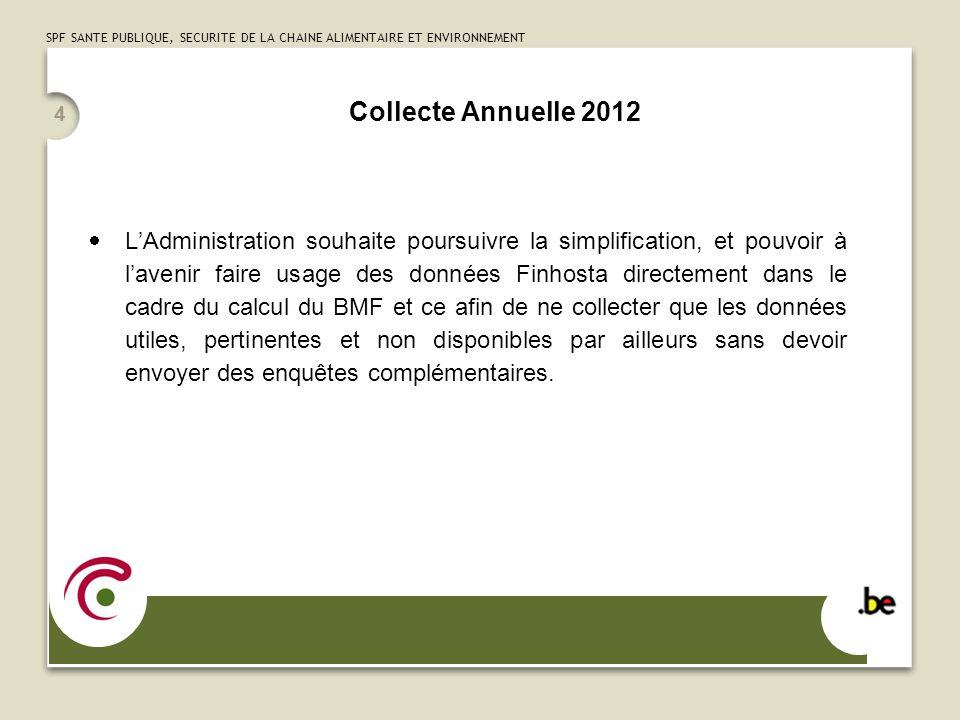 SPF SANTE PUBLIQUE, SECURITE DE LA CHAINE ALIMENTAIRE ET ENVIRONNEMENT Collecte Annuelle 2012 LAdministration souhaite poursuivre la simplification, e