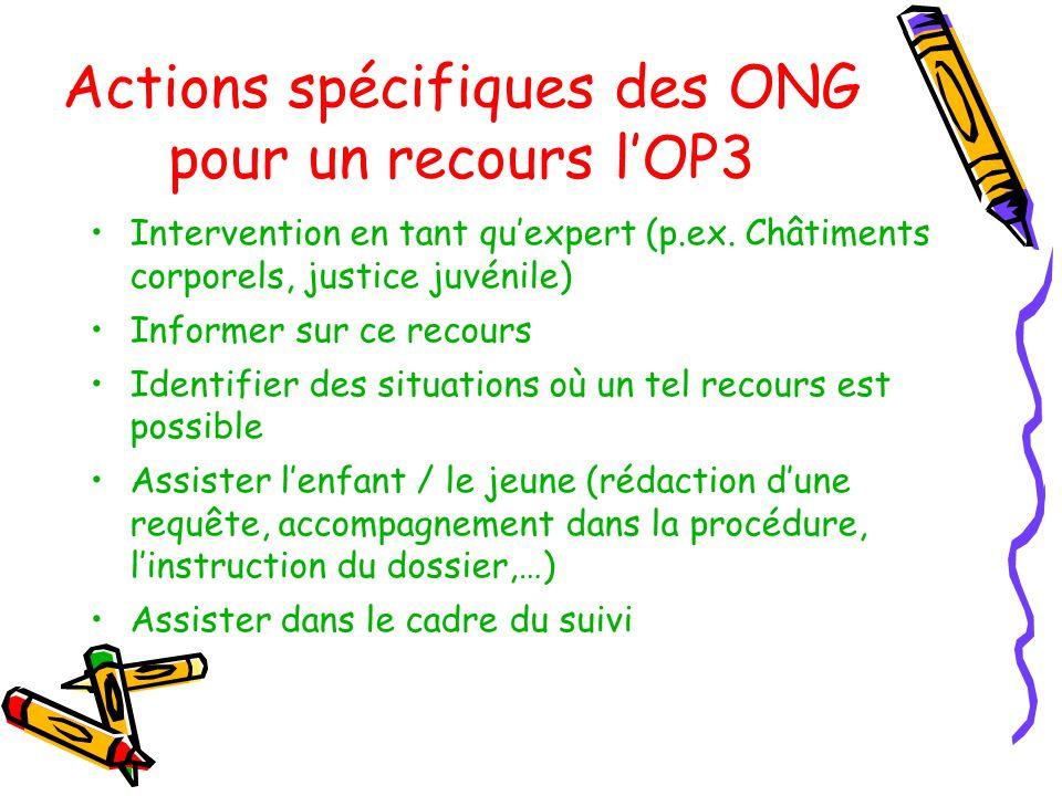 Actions spécifiques des ONG pour un recours lOP3 Intervention en tant quexpert (p.ex.