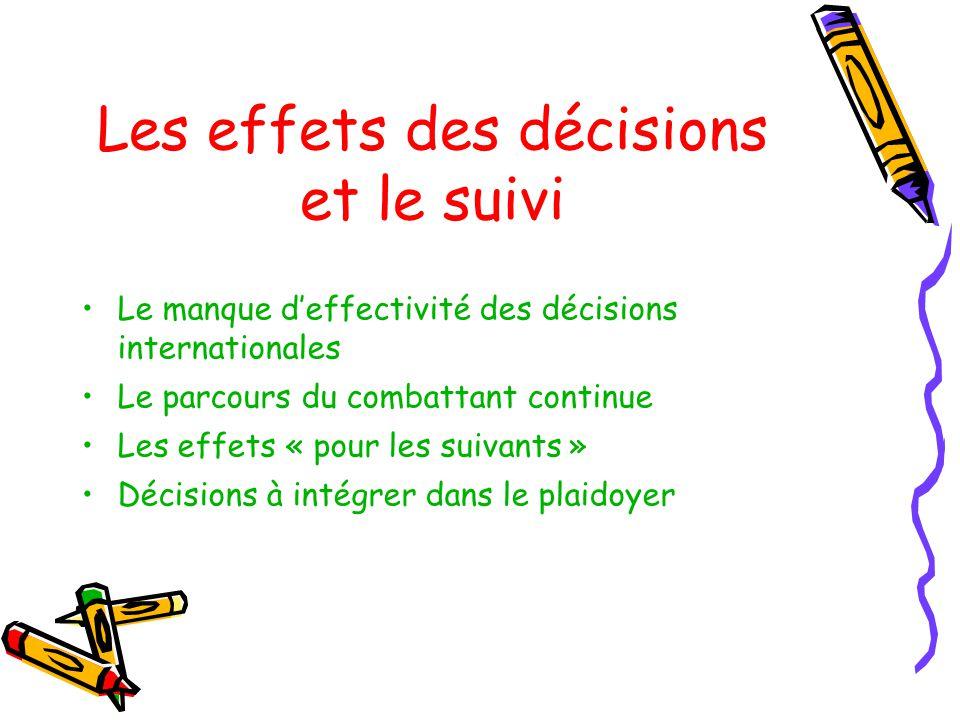 Les effets des décisions et le suivi Le manque deffectivité des décisions internationales Le parcours du combattant continue Les effets « pour les suivants » Décisions à intégrer dans le plaidoyer
