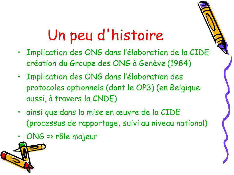 Un peu d histoire Implication des ONG dans lélaboration de la CIDE: création du Groupe des ONG à Genève (1984) Implication des ONG dans lélaboration des protocoles optionnels (dont le OP3) (en Belgique aussi, à travers la CNDE) ainsi que dans la mise en œuvre de la CIDE (processus de rapportage, suivi au niveau national) ONG => rôle majeur