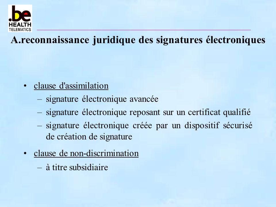 A.reconnaissance juridique des signatures électroniques clause d'assimilation –signature électronique avancée –signature électronique reposant sur un