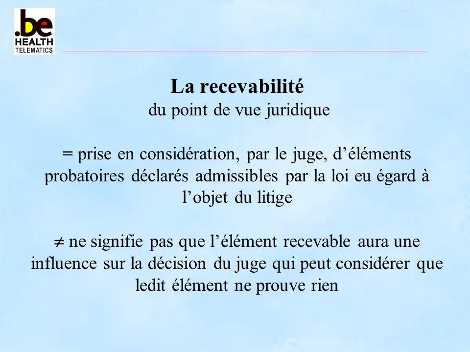 La recevabilité du point de vue juridique = prise en considération, par le juge, déléments probatoires déclarés admissibles par la loi eu égard à lobj