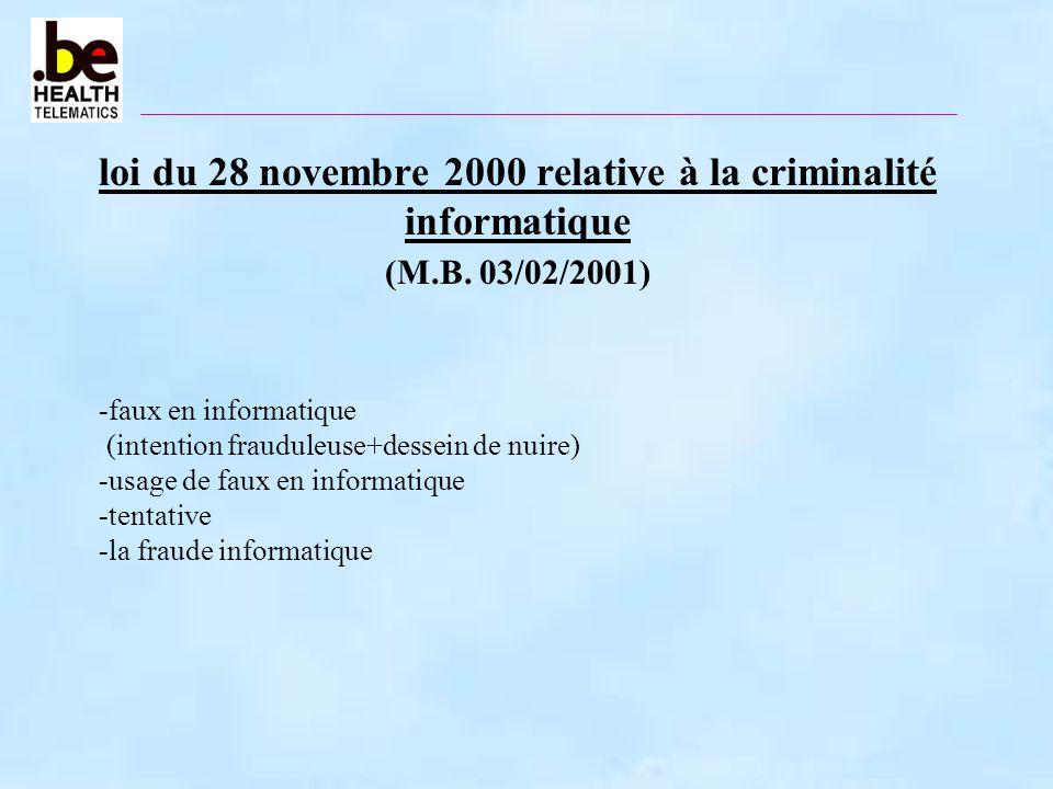 loi du 28 novembre 2000 relative à la criminalité informatique (M.B. 03/02/2001) -faux en informatique (intention frauduleuse+dessein de nuire) -usage