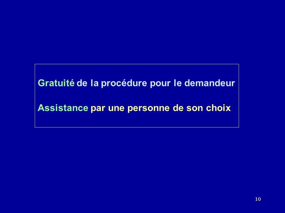 10 Gratuité de la procédure pour le demandeur Assistance par une personne de son choix