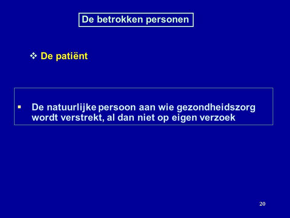 20 De betrokken personen De patiënt De natuurlijke persoon aan wie gezondheidszorg wordt verstrekt, al dan niet op eigen verzoek