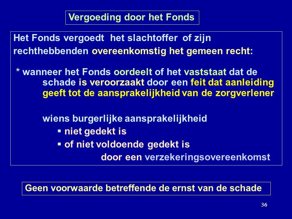 36 Vergoeding door het Fonds Het Fonds vergoedt het slachtoffer of zijn rechthebbenden overeenkomstig het gemeen recht: * wanneer het Fonds oordeelt o