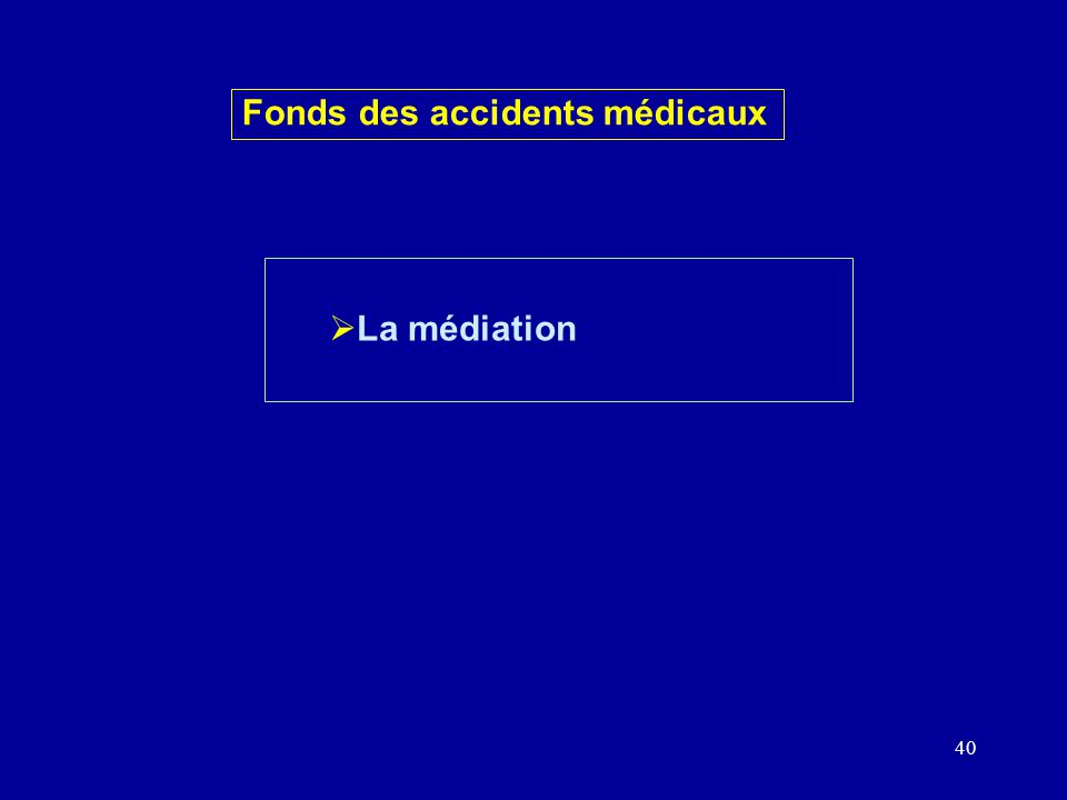 40 La médiation Fonds des accidents médicaux