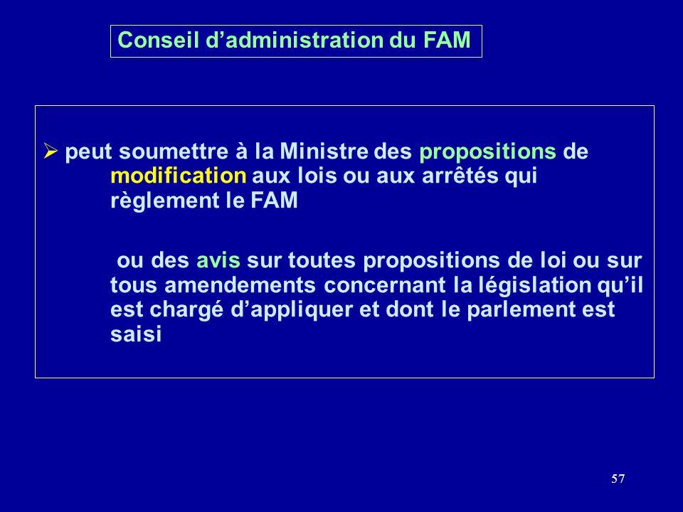 57 Conseil dadministration du FAM peut soumettre à la Ministre des propositions de modification aux lois ou aux arrêtés qui règlement le FAM ou des avis sur toutes propositions de loi ou sur tous amendements concernant la législation quil est chargé dappliquer et dont le parlement est saisi