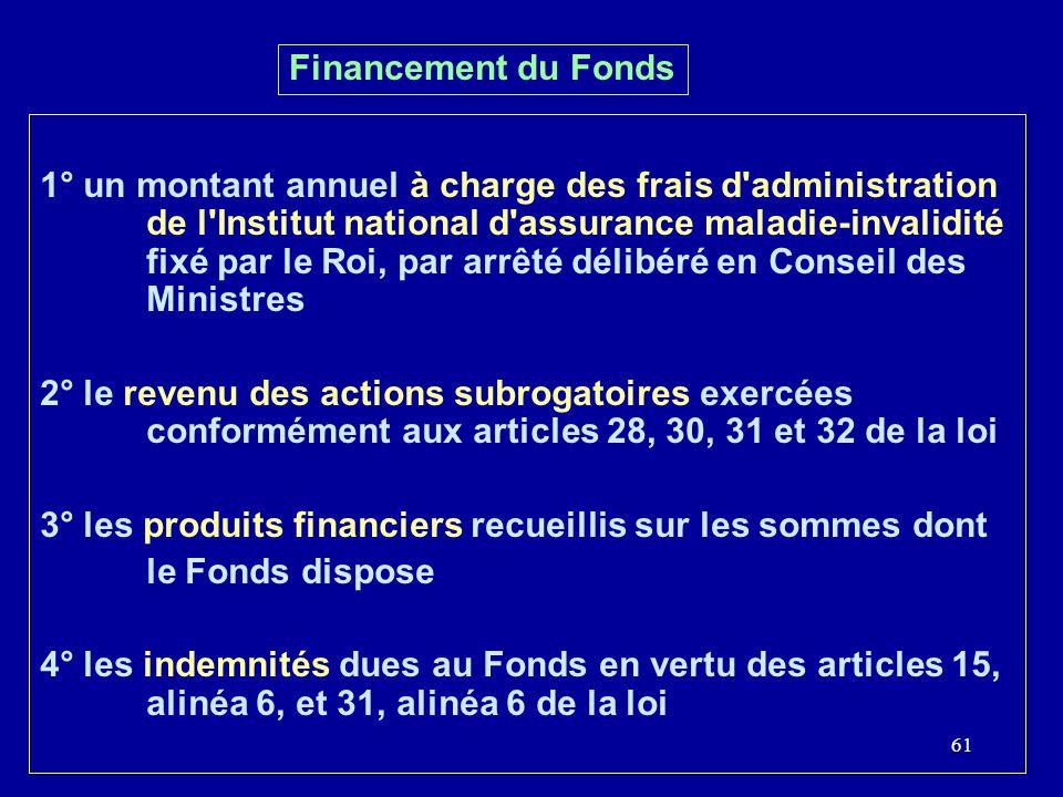 61 Financement du Fonds 1° un montant annuel à charge des frais d'administration de l'Institut national d'assurance maladie-invalidité fixé par le Roi