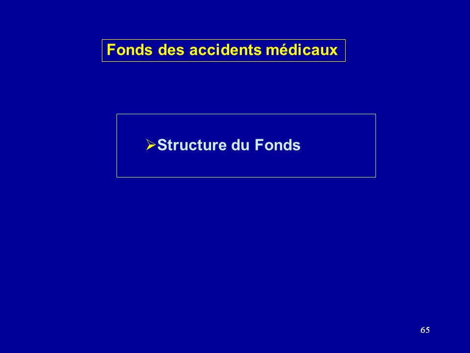 65 Structure du Fonds Fonds des accidents médicaux