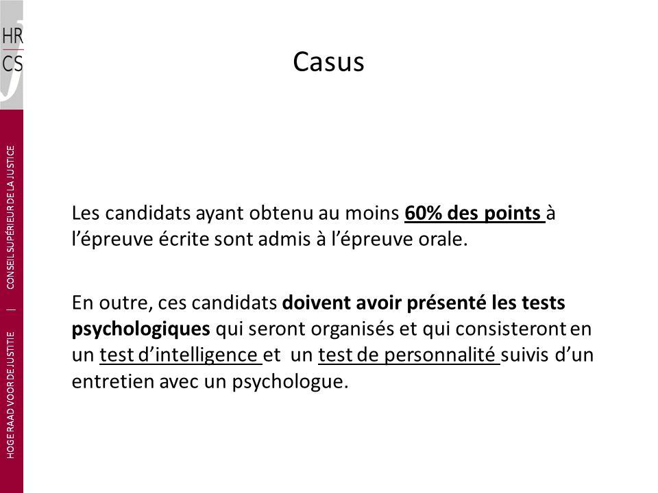 Casus Les candidats ayant obtenu au moins 60% des points à lépreuve écrite sont admis à lépreuve orale.