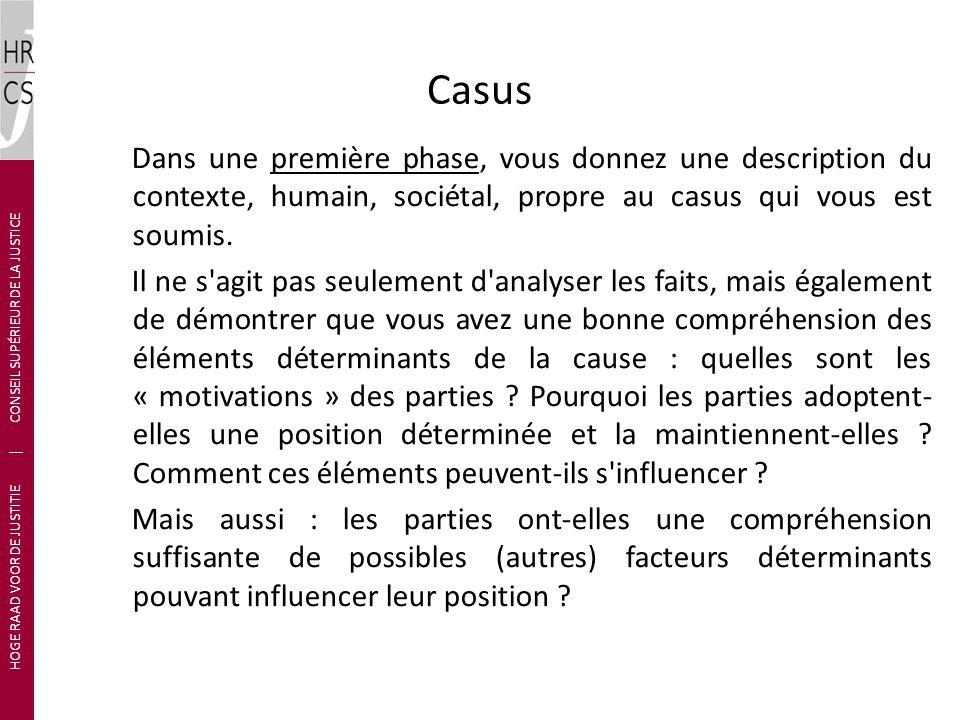 Casus Dans une première phase, vous donnez une description du contexte, humain, sociétal, propre au casus qui vous est soumis.