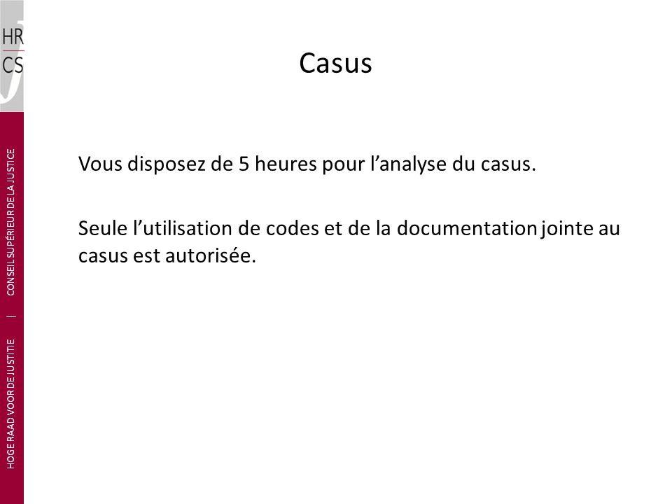 Casus Vous disposez de 5 heures pour lanalyse du casus.