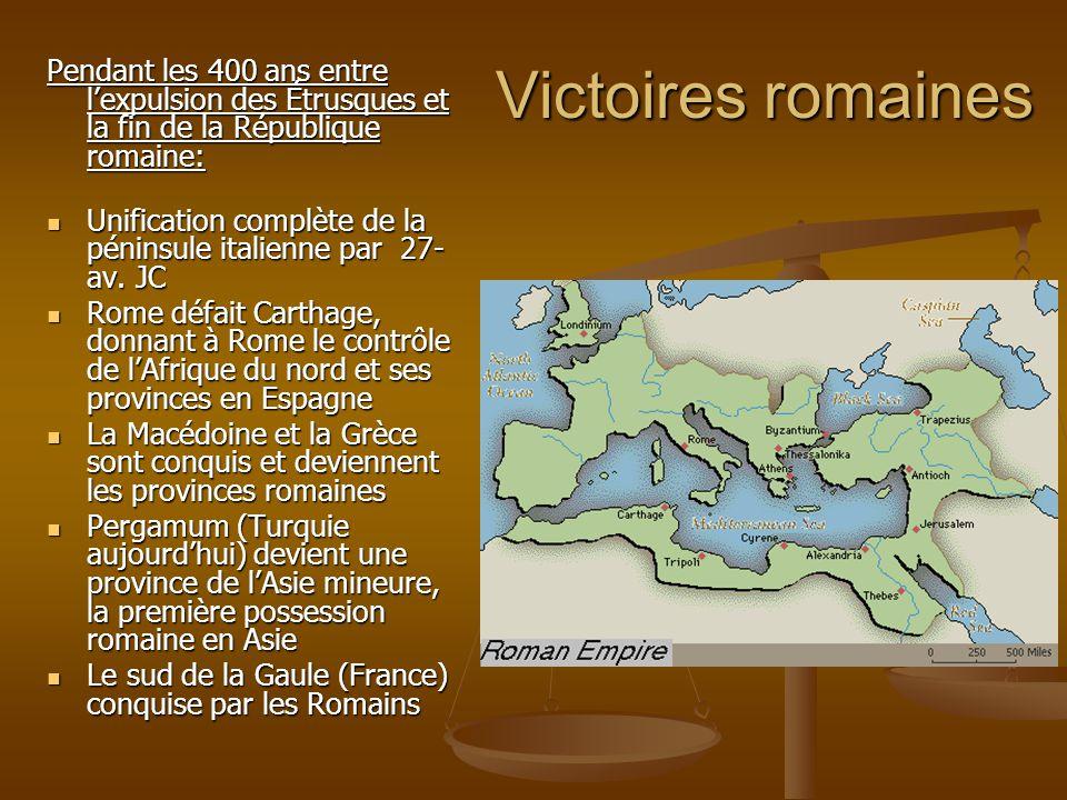 Victoires romaines Pendant les 400 ans entre lexpulsion des Étrusques et la fin de la République romaine: Unification complète de la péninsule italien