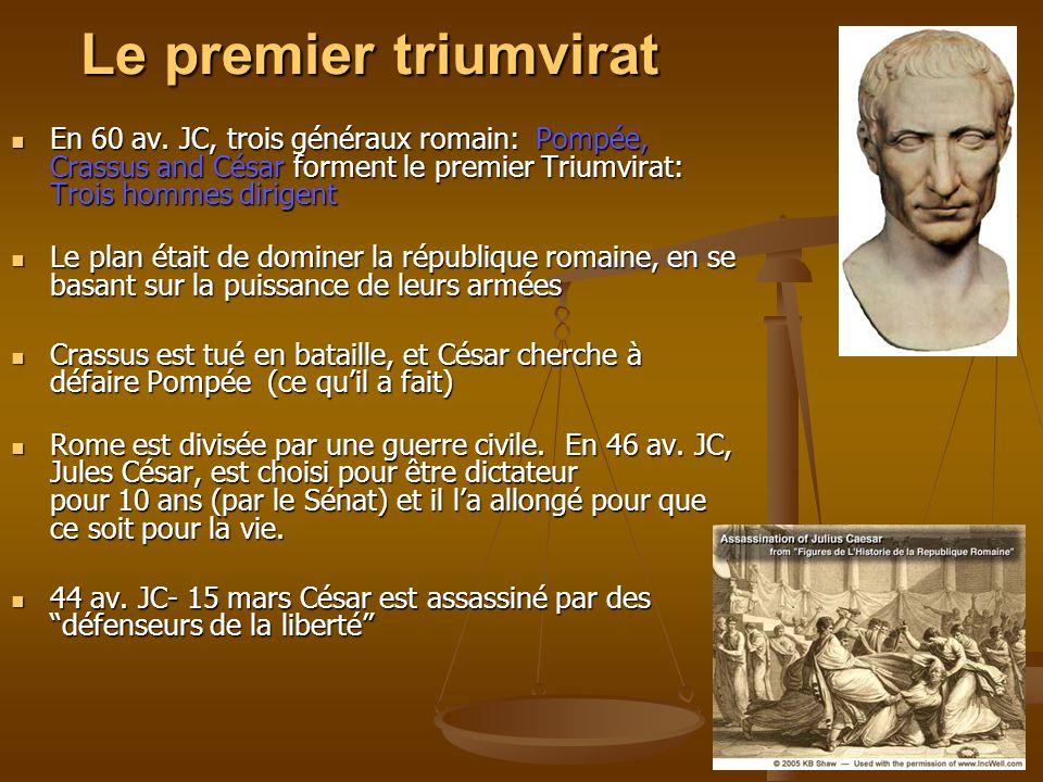 Le premier triumvirat En 60 av. JC, trois généraux romain: Pompée, Crassus and César forment le premier Triumvirat: Trois hommes dirigent En 60 av. JC