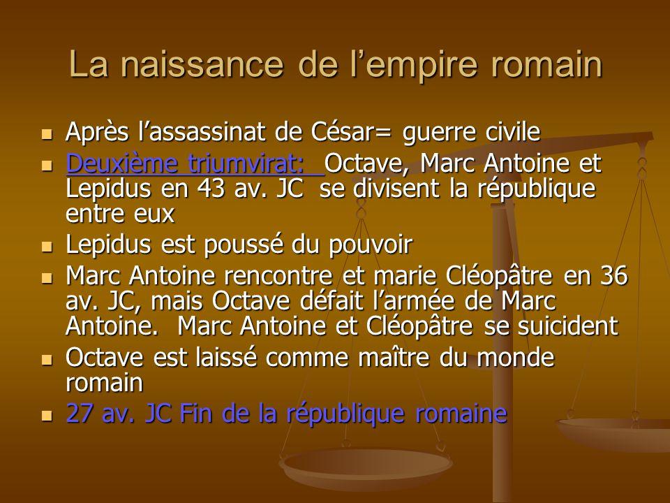 La naissance de lempire romain Après lassassinat de César= guerre civile Après lassassinat de César= guerre civile Deuxième triumvirat: Octave, Marc A