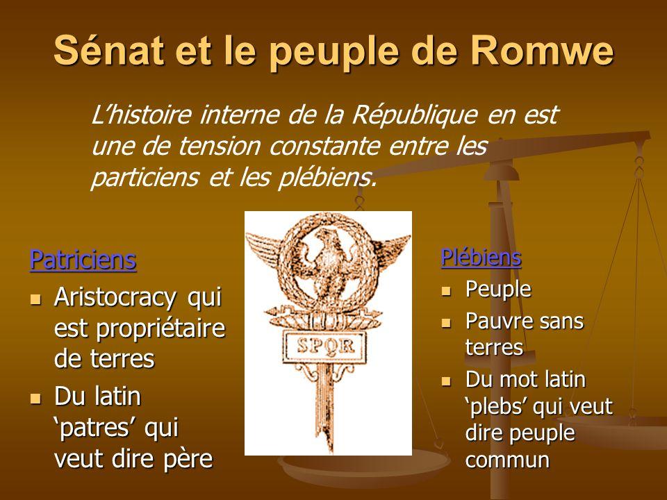 Sénat et le peuple de Romwe Patriciens Aristocracy qui est propriétaire de terres Aristocracy qui est propriétaire de terres Du latin patres qui veut