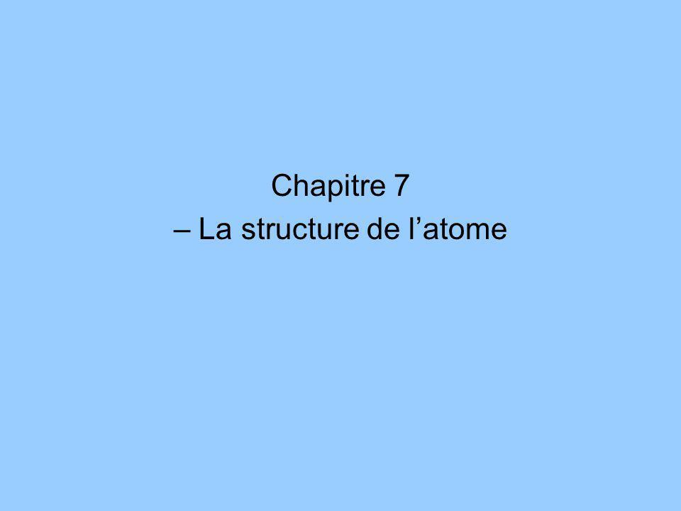 Chapitre 7 – La structure de latome