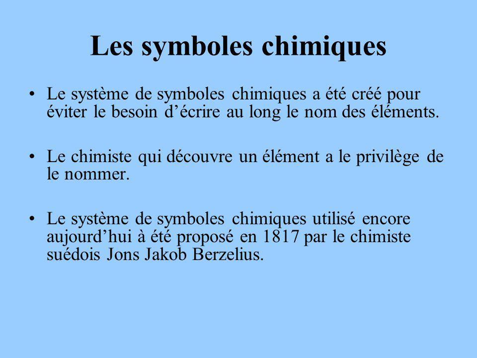 Les symboles chimiques Le système de symboles chimiques a été créé pour éviter le besoin décrire au long le nom des éléments.