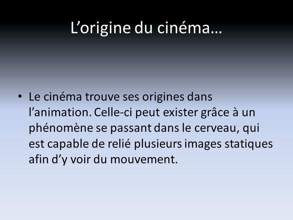Lorigine du cinéma… Le cinéma trouve ses origines dans lanimation.
