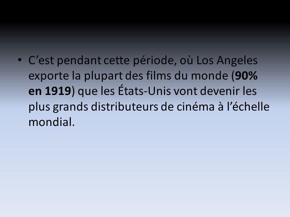 Cest pendant cette période, où Los Angeles exporte la plupart des films du monde (90% en 1919) que les États-Unis vont devenir les plus grands distributeurs de cinéma à léchelle mondial.