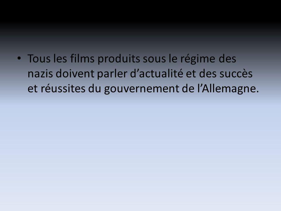 Tous les films produits sous le régime des nazis doivent parler dactualité et des succès et réussites du gouvernement de lAllemagne.