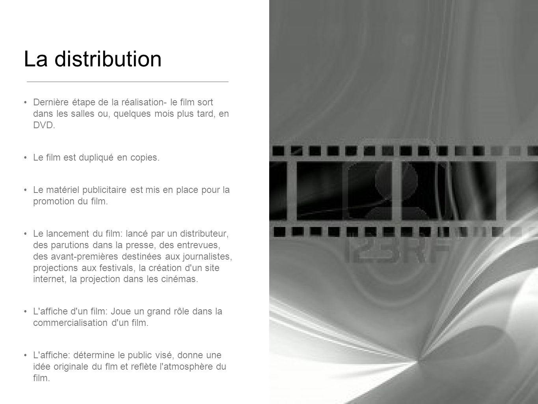 La distribution Dernière étape de la réalisation- le film sort dans les salles ou, quelques mois plus tard, en DVD.