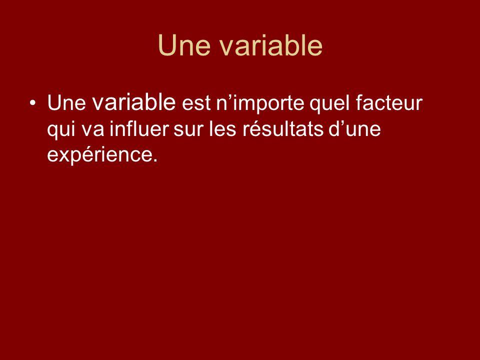 Une variable Une variable est nimporte quel facteur qui va influer sur les résultats dune expérience.