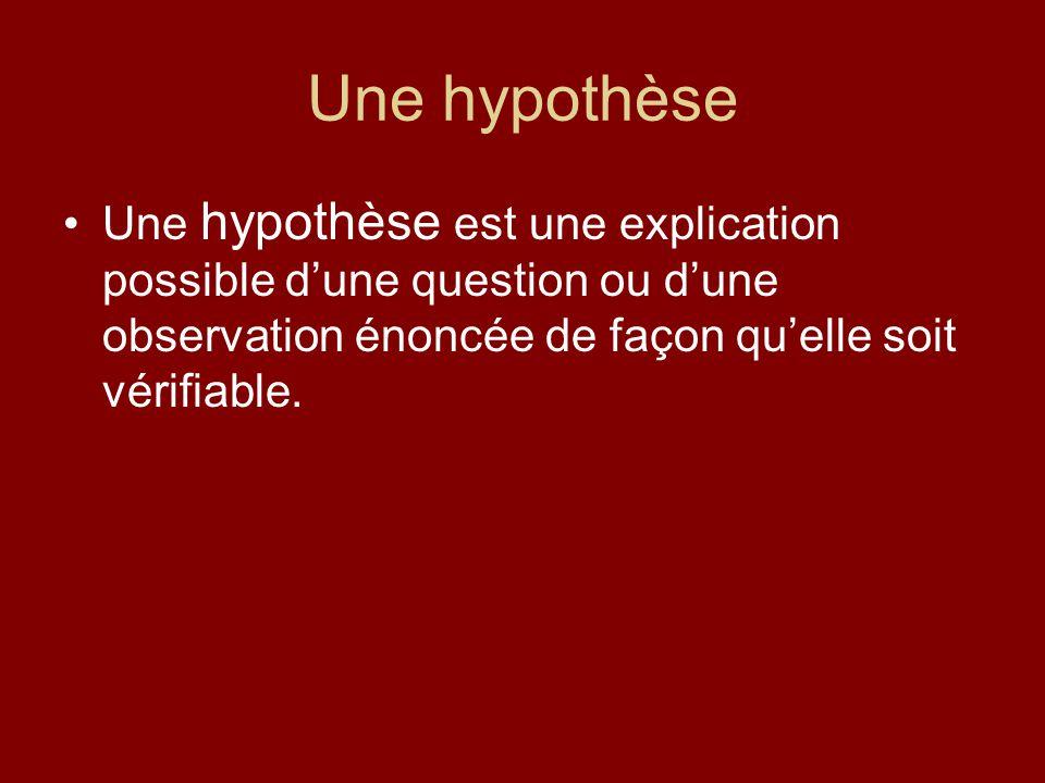 Une hypothèse Une hypothèse est une explication possible dune question ou dune observation énoncée de façon quelle soit vérifiable.