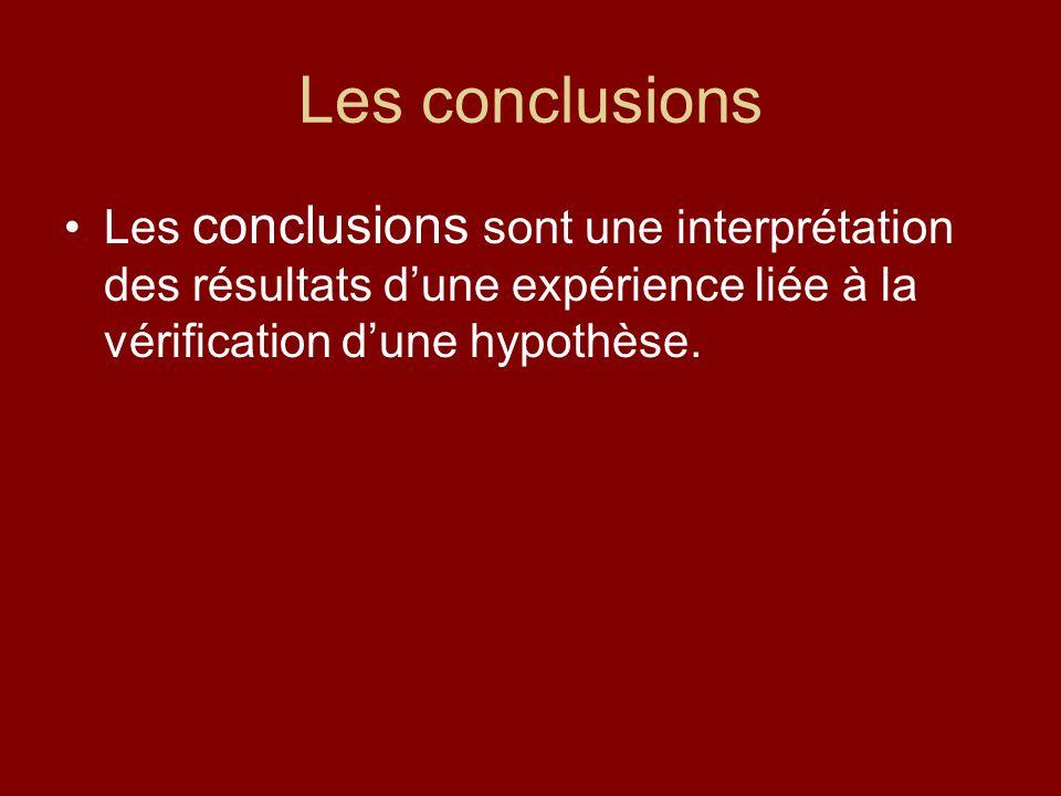 Les conclusions Les conclusions sont une interprétation des résultats dune expérience liée à la vérification dune hypothèse.