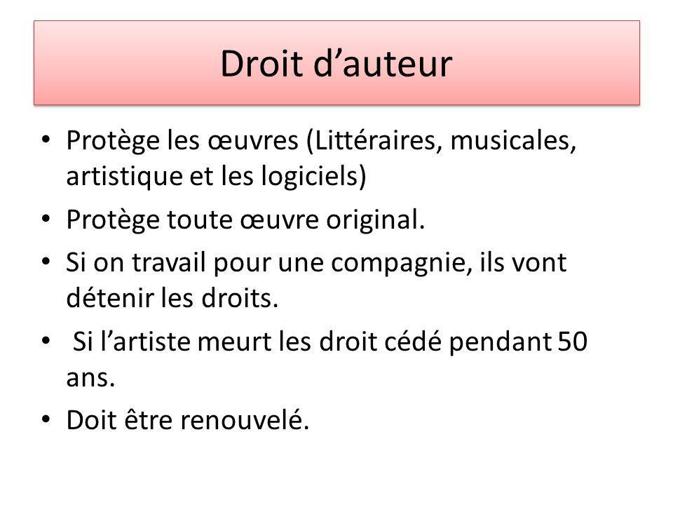 Droit dauteur Protège les œuvres (Littéraires, musicales, artistique et les logiciels) Protège toute œuvre original.