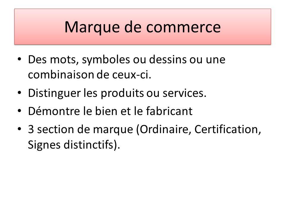 Marque de commerce Marque ordinaire cest simplement une composition de mot ou symbole.