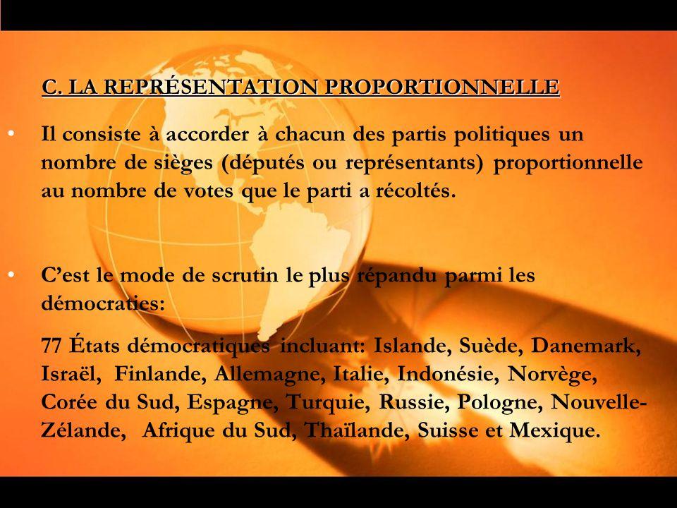 C. LA REPRÉSENTATION PROPORTIONNELLE Il consiste à accorder à chacun des partis politiques un nombre de sièges (députés ou représentants) proportionne