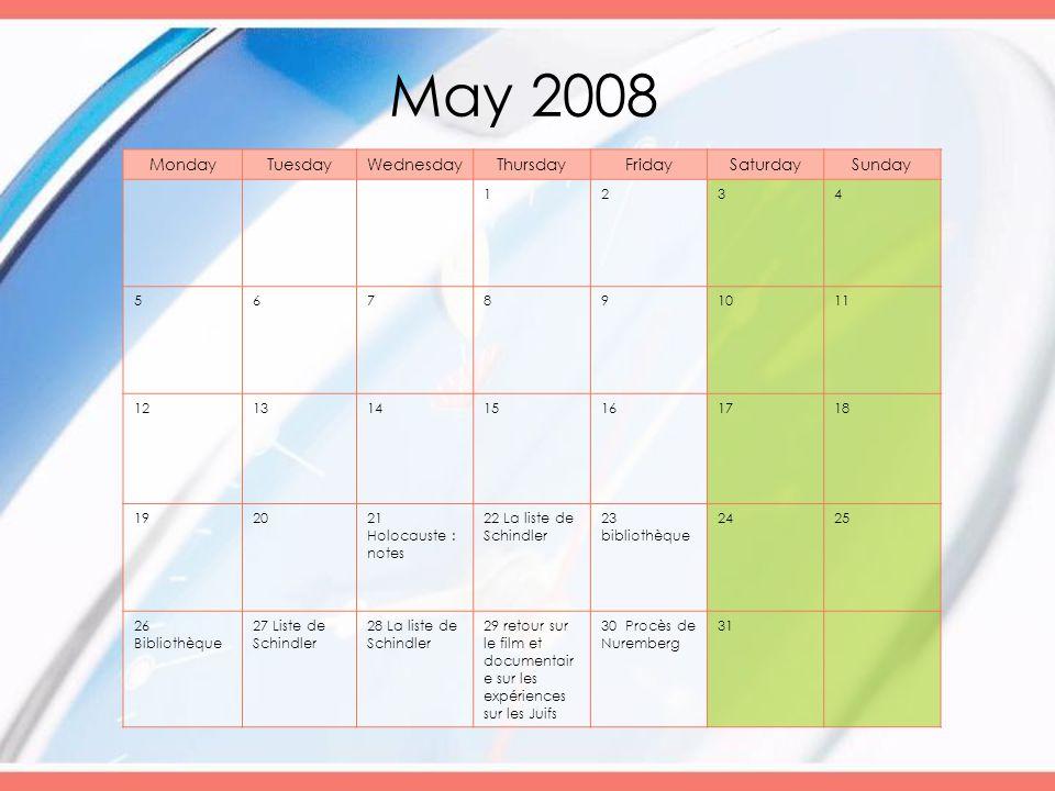May 2008 MondayTuesdayWednesdayThursdayFridaySaturdaySunday 1234 567891011 12131415161718 192021 Holocauste : notes 22 La liste de Schindler 23 biblio