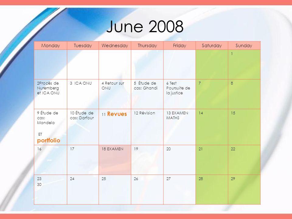 June 2008 MondayTuesdayWednesdayThursdayFridaySaturdaySunday 1 2Procès de Nuremberg et ICA ONU 3 ICA ONU4 Retour sur ONU 5 Étude de cas: Ghandi 6 Test